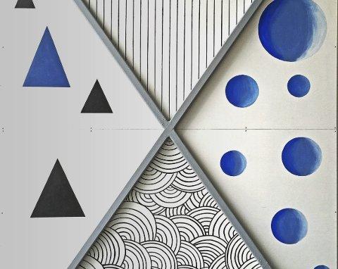 Markant: Dette store kunstverket henger nå godt synlig på en veggene i Agenda-huset på Fagernesveien.