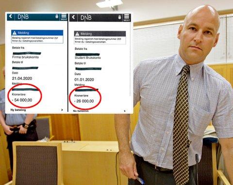 FORSVARER: Advokat Vidar Lind Iversen forsvarer den 21 år gamle svindleren. De to «kvitteringene» i bildet ble vist fram som bevis på betaling, men er falske. Pengene så selgerne aldri. Foto: Scanpix/Politiet