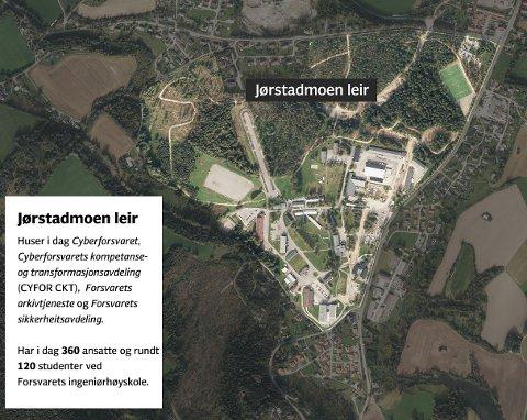 INVESTERER: Jørstadmoen blir hovedbase for Forsvarets IKT-tjenester. Det kom fram da Regjeringen la fram sin langtidsplan for forsvarssektoren. (Illustrasjon: Kjetil Høiby/Norgeskart.no)