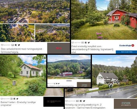 Flere eiendommer ligger ute til salgs for en million kroner eller mindre.