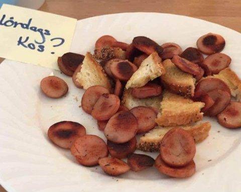 LØRDAGSKOS?: Dette skal være maten en beboer i en omsorgsbolig i Karmøy fikk servert.