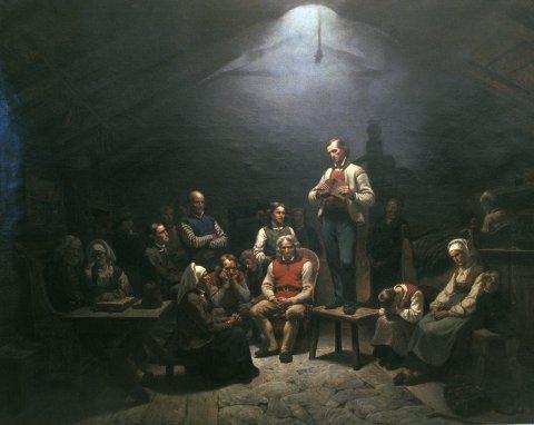 HAUGIANERNE: Adolf Tidemands maleri Haugianerne frå Nasjonalgalleriet. Hans Nielsen Hauge hadde òg mange vener på Jæren.