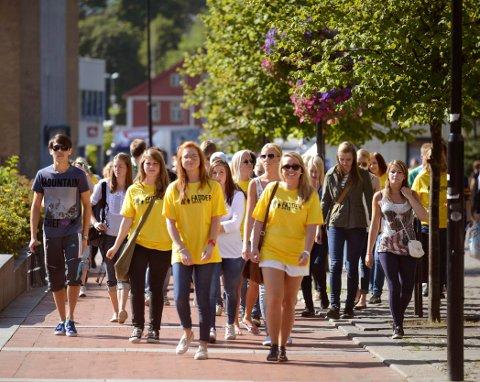 STUDIESTART: USN studenter, studiestart Kongsberg sentrum.