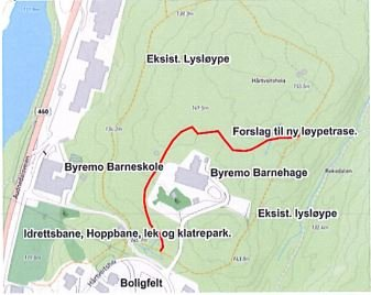 LYSLØYPA: Den gule streken viser lysløypa slik den ligger nå, mens den røde streken viser den planlagte nye sløyfa.