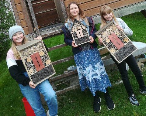 """MILJØVENNENE: Frida Vabog Løken (10), Julia Berit Marie Salterød (10) og Ida B. Spydslaug (10) kaller seg """"Miljøvennene"""" ."""