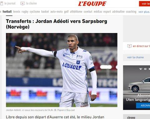 Overgangen til Jordan Adeoti skaper overskrifter i Frankrike. Her fra storavisen L'Equipe.