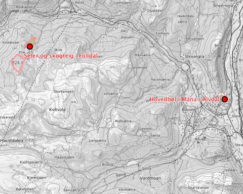 KJØPER LANDBRUKSEIENDOM: Oversiktskart over eiendommens samlede arealer og beliggenhet.