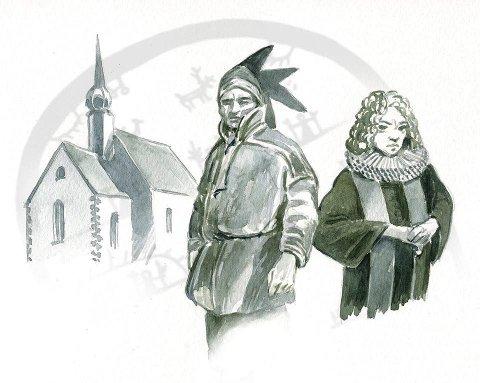 Von Westen: I 1722 møtte den såkalte samenes apostel, Thomas von Westen «Fandens Spøgelse» utenfor Bodøens kirke. Illustrasjon: Bjørnar Meisler