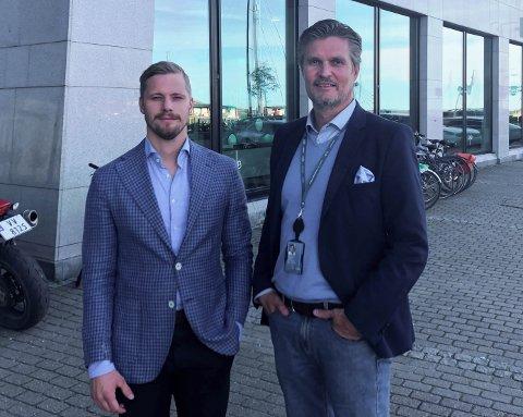 Daglig leder Simon Fjordholm i DNB Eiendom og områdeleder Pål Martin Arntzen i Nybygg Salten/Helgeland.