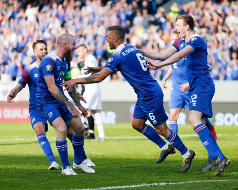 The Icelandic team celebrates Ragnar Sigurdsson's second goal against Turkey, during the Euro 2020 group H qualifying soccer match between Iceland and the Turkey at Laugardalsvollur stadium in Reykjavik, Iceland, Tuesday June 11, 2019. (AP Photo/Brynjar Gunnarsson)