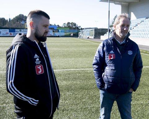 Lysekloster-trener Ruben Hetlevik  er bekymret for folks mentale helse. Til høyre Svein Kollen.