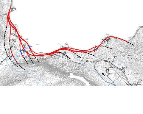 For erdalingane er trasèen vist heilt til venstre på kartet det beste alternativet, skriv Bjarte Johan Erdal.