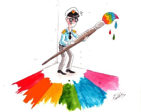 Politiet velger strategien «skjær alle over en kam», og forbyr både «informasjonsmøtet» i Gamlebyen og fredsmarkeringen i Fredrikstad sentrum, skriver FBs sjefredaktør (Tegning: Balder Andersen)