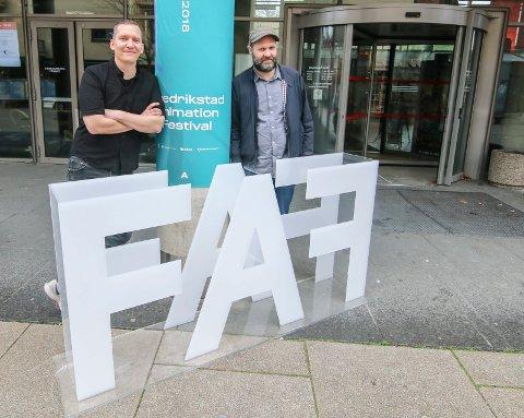 Starter nå: Filmfestivalen for animasjon er i gang. Kristian Pedersen (til venstre) skal ha to visninger av sin animasjonsfilm. Festivalleder Anders Narverud Moen gleder seg over at mange vikl komme.