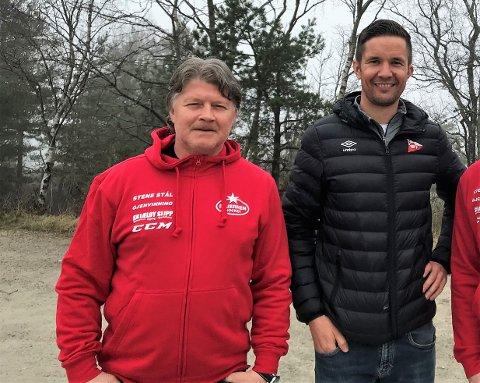 Ørjan Løvdal (t.v) og Lars Petter Brovold jobber med sponsormarkedet for henholdsvis Stjernen og FFK. Begge forteller om stor usikkerhet i markedet.
