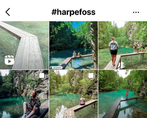 Vegskillekunsten Oktagon, laget av arkitektfirmaet Rintala Eggertsson, er blitt et popuært motiv på Instagram. Dette er de mest populære bildene under emneknaggen #harpefoss.