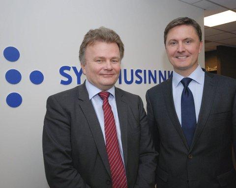 DIREKTØRER: Harald Johnsen er direktør for divisjonen for nasjonale tjenester hos Sykehusinnkjøp HF, og hadde i 2017 satt et helt spesielt mål som foretaket skulle oppnå innen utgangen av året, noe de nesten fikk til. Til høyre står foretakets administrerende direktør, Kjetil M. Istad.