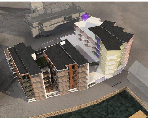 Tinden Brygge II: Prosjektering av den neste byggetrinnet (helt til høyre) starter nå. Prosjektet kan inneholdeså mange som 35 leiligheter, stort garasjeanlegg og næringslokale. Byggestart er mest sannsynlig på nyåret 2018. Skissetegning: Vindveggen