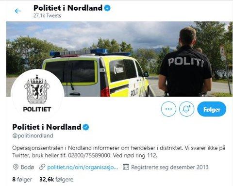 Politiet i Nordland legger ut hendelser som er meldt inn til dem på sitt Twitter-konto.. I helgen har det vært rolig i Lofoten.
