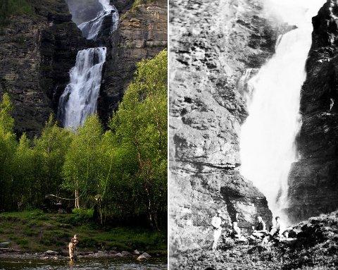 Mollisfossen under lav vannføring sommerstid, og slik den fremstod på 30-tallet før utbygging.