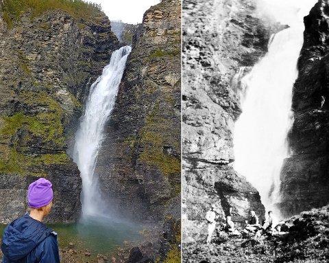 Mollisfossen under middels vannføring denne høsten, og slik den fremstod på 30-tallet før utbygging.