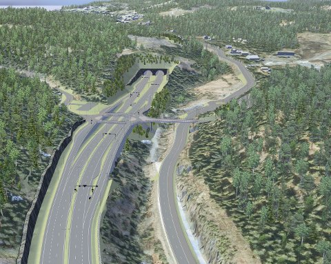 NY  E16: Slik blir veien mellom Bjørum og Skaret når den er ferdig bygget. Her ser vi veisystemet slik det er planlagt ved Avtjerna. Tunnelen i bildet skal gå inn under Sollihøgda. Illustrasjon: Statens Vegvesen/ViaNOVA