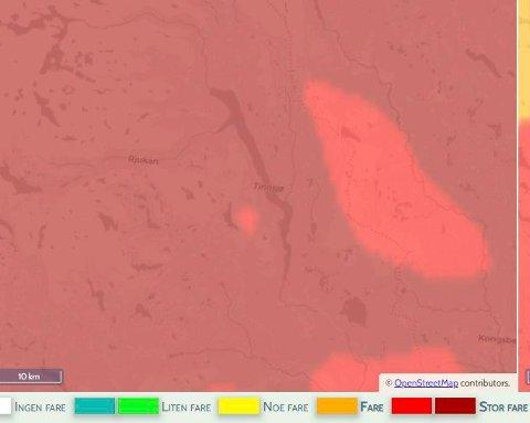 BRANNFARE: Så stor er brannfaren i Tinn for datoen 2.september. Sjekk fargeskalaen under.