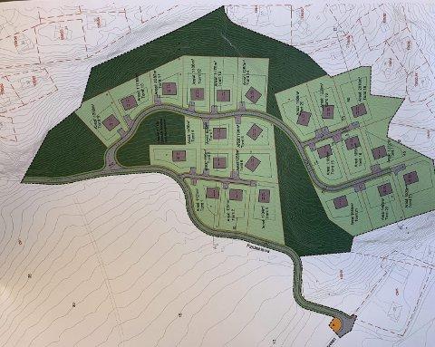 Utsnitt: Dette kartet viser et utsnitt av området og de potensielt 23 nye hyttetomtene. Illustrasjon