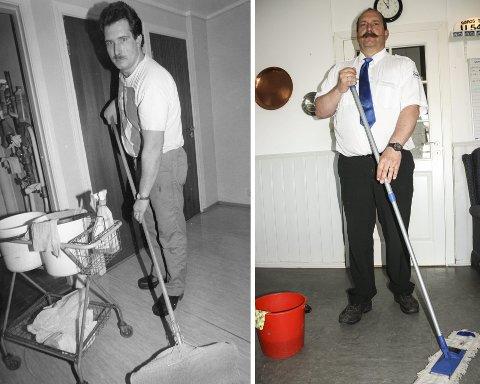 FØR ...: Bildet er antakelig fra 1993 da Stig Lien tok et vikariat som vaskehjelp og vaktmester ved Røros Gymbygg. – Det var en trivelig jobb i et kjempefint miljø med mange trivelige folk, sier han.... OG NÅ: Stig Lien svinger av og til moppen i dag også, på drosjesentralen. – Trivsel er viktig, og da må det være noenlunde rent, sier han.