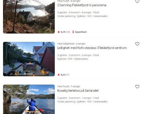 STORT MARKED: Å leie ut gjennom Airbnb har blitt et stort marked i Flekkefjord og omegn.