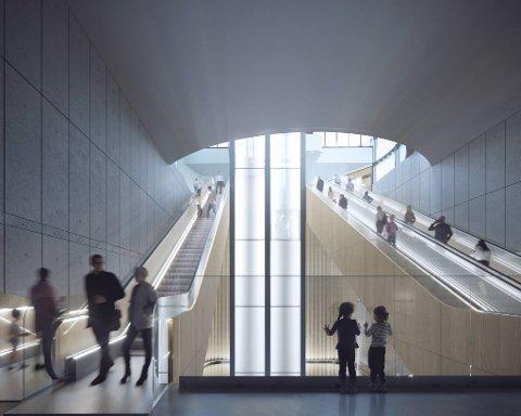 Slik vil det nye bybanestoppet på Haukeland se ut. 11 rulletrapper frakter deg tilsammen 30 meter ned under bakken, der banen går i tunnel.