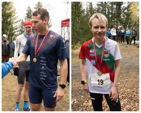 TOK HVER SIN SEIER: Eivind Kjennerud og Marianne Andersen kunne smile bredt etter å ha løpt opp Pukerudlinna.