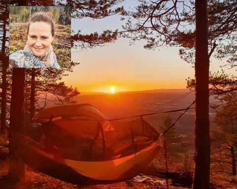 Siw Eldhuset Hansen anbefaler alle å ta en natt på Krukekollen. Her fra hennes hemmelige plass like ved.