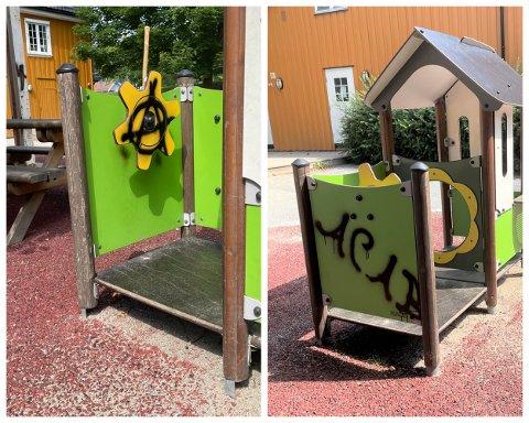 TAGGET: Uteområdet i Parktunet barnehage i Drammen ble forrige uke tagget på. Det synes styreren er kjedelig.