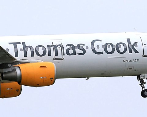 FILE - In this May 19, 2016 file photo, a Thomas Cook plane takes off in England. More than 600,000 vacationers who booked through tour operator Thomas Cook were on edge Sunday, wondering if they will be able to get home, as one of the world's oldest and biggest travel companies teetered on the edge of collapse. The debt-laden company, which confirmed Friday it was seeking 200 million pounds ($250 million) in funding to avoid going bust, was in talks with shareholders and creditors to stave off failure. (Tim Goode/PA via AP, file)