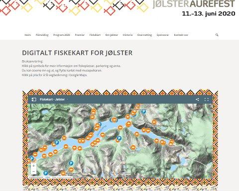 DIGITALT FISKEKART: Klikkar du på ein av fiskane på kartet, får du opp informasjon om akkurat den fiskeplassen.