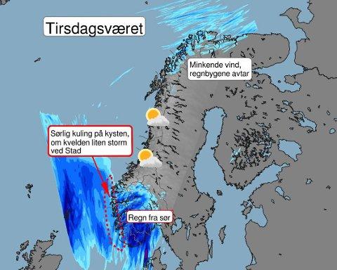 Slik er værprognosene for tirsdag i hele landet.