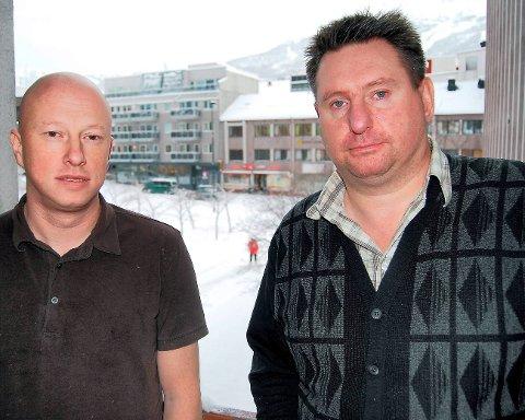 SVARTE: Ordfører Rune Edvardsen (th) svarte Tore Nysæter i Narvik bystyre torsdag.