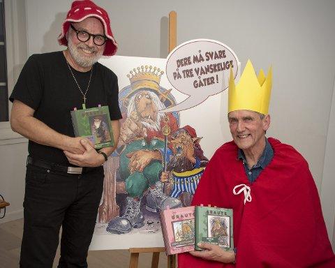 LANSERER BOK MED TEATER: Ivar Nordhagen og Hans Ludvig Fredheim er klare som skuespillere når Graute-boka lanseres.