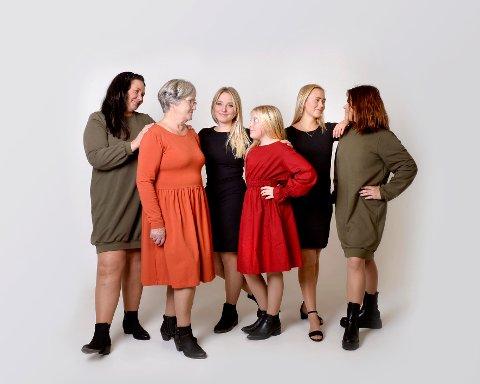 Hele familien med: Elin Sletta Gaarder (f.v.), Anne Lise Strand, Silje Sletta Strand, Sofie Hamar Løvlie, Caroline Broen og Kjersi Sofie Hamar.
