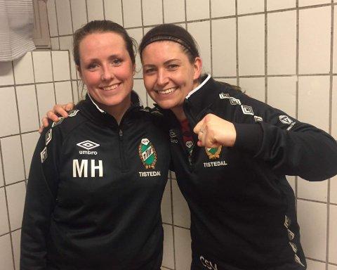 TAPTE, MEN SMILTE: Mari Haugsten (tv) og Christina Vikran scoret hvert sitt mål, men TTIFs damelag tapte 2-4 i serieåpningen for Råde.