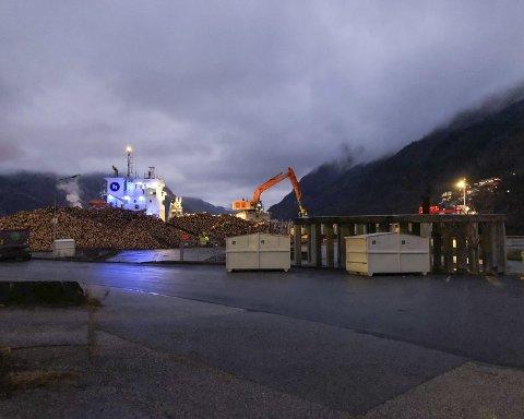 Eksportkaia: Lasting av tømmer på eksportkaia 1. juledag, klokka 16:10. Lyden av gravemaskinen om bord kunne høres langt oppe på Ragde og Freim. Foto: Ernst Olsen