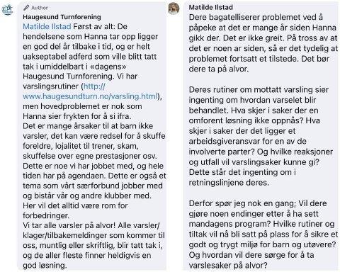 IKKE HELT BORTE: Haugesunds Avis har fått tilsendt disse skjermbildene, som viser noen av kommentarene som ble slettet fra Haugesund Turnforenings Facebook-side.