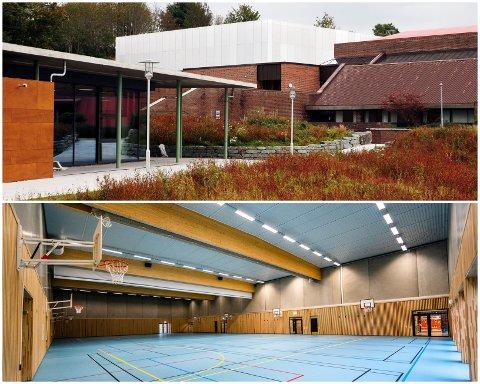 SLIK SER DET UT: Den nye idrettshallen i Haugesund, som ligger mer eller mindre vegg i vegg med den gamle Vardafjellhallen, sto klar i august i fjor.
