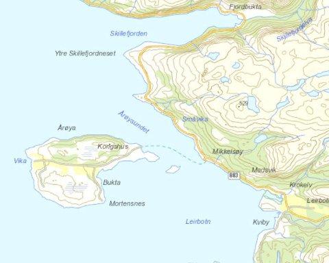 FÅR IKKE SENDT NOE TIL ELLER FRA Årøya: Kart: Geodata AS