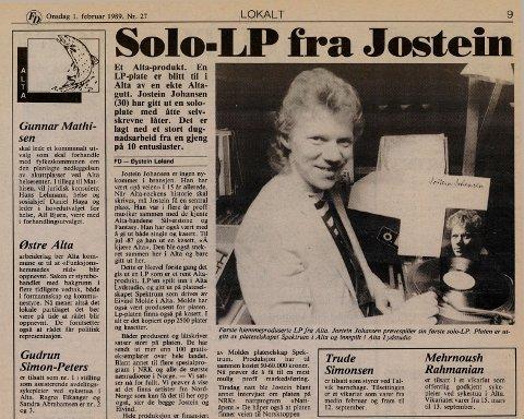 1989: Jostein ga ut soloplate i 1989.