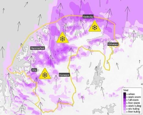 GULT FAREVARSEL: Fra torsdag ettermiddag til fredag ettermiddag er det ventet lokal snøfokk i Finnmark. Årsaken er løs snø og kraftig vind fra sør, skriver meteorologene på twitter.