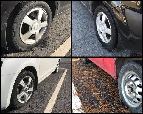 Hærverk: Bileierne håper på en oppklaring i hva som har skjedd på parkeringsplassen denne helgen. Bileier Oda Bastiansen Haugli, sier det er flaks det bare var gjort skader på dekkene på bilen hennes.