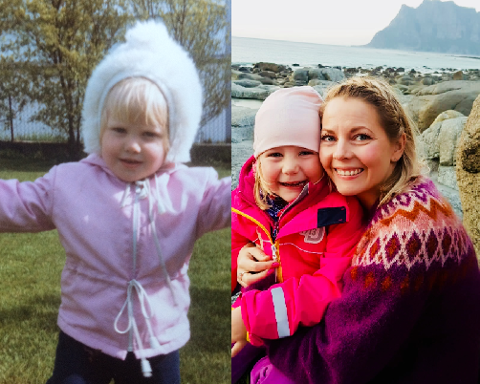 Maria Helen Adolfsen fra Hagvågen som barn - og med barn.