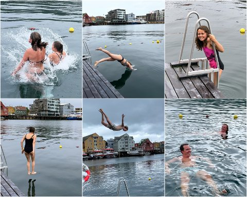 BADET: Disse sprekingene hoppet uti for å sjekke om det stemmer at vannet i Tromsø varmer på en kald sommerdag.